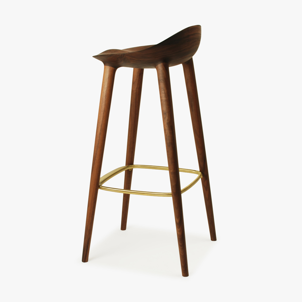 Bar Stool Walnut Brass Back Side 1