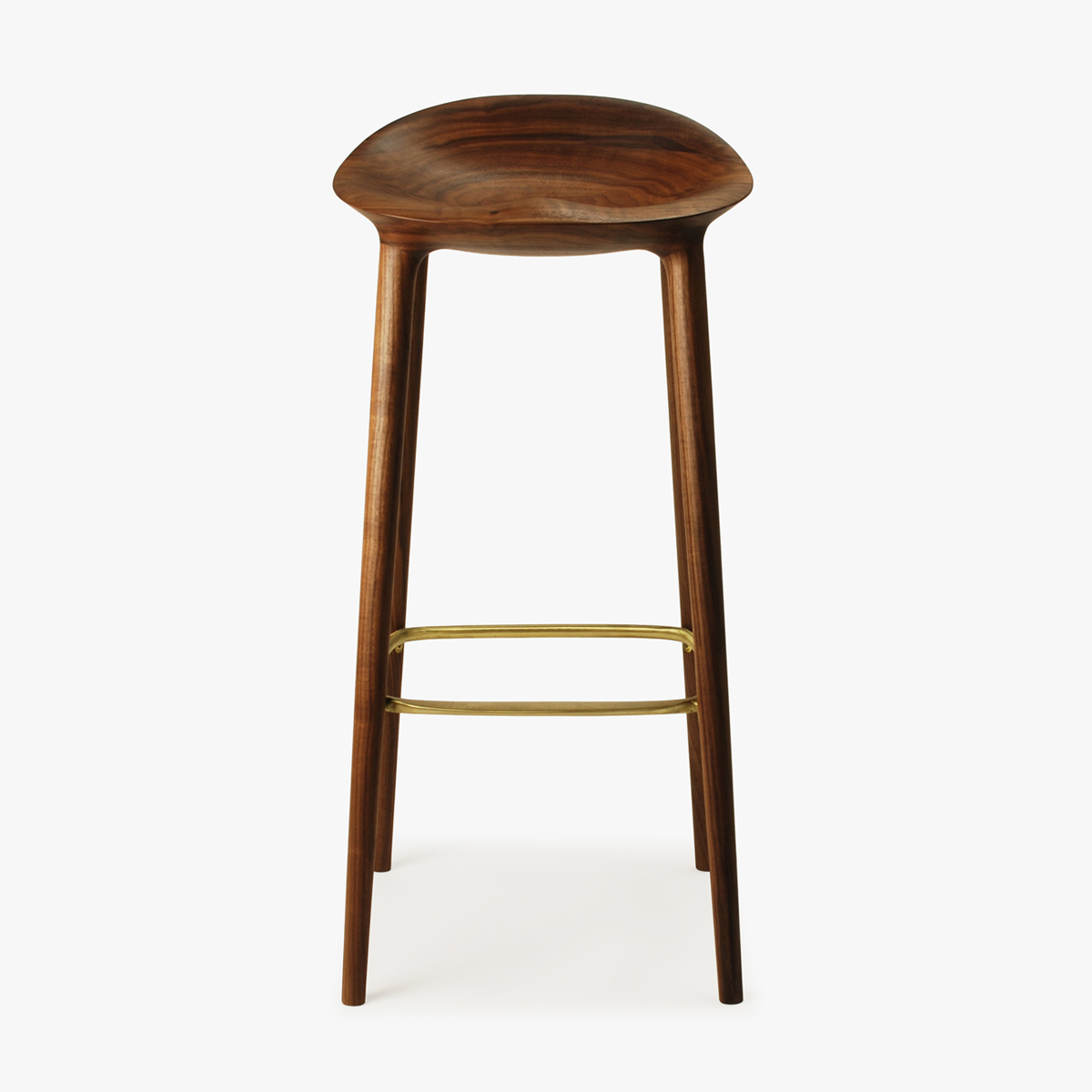Bar Stool Walnut Brass Front